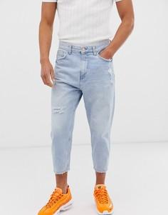 Свободные голубые джинсы Bershka-Синий