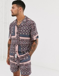 Комбинируемая фиолетовая рубашка с короткими рукавами и геометрическим принтом Native Youth-Фиолетовый