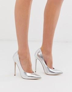 Туфли-лодочки серебристого цвета на каблуке Lost Ink-Серебряный
