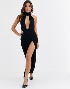 Вечернее платье макси с глубоким вырезом ASOS DESIGN-Черный
