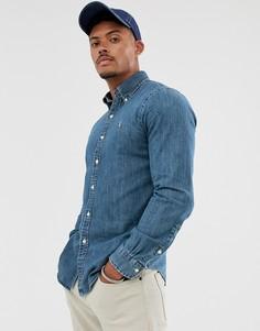 Приталенная джинсовая рубашка с логотипом Polo Ralph Lauren-Синий