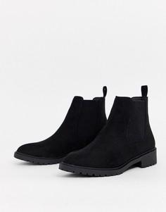Черные ботинки челси из искусственной замши на плоской подошве New Look-Черный