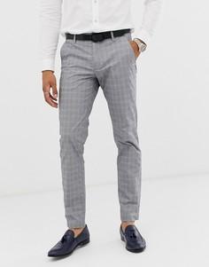 Серые узкие брюки в клетку Ted Baker-Серый