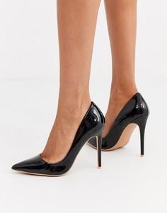 Черные лакированные туфли-лодочки на каблуке-шпильке и с острым носком Missguided-Черный