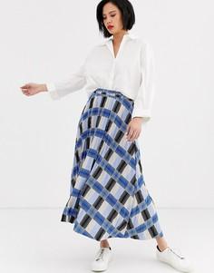 Плиссированная юбка макси в клетку Selected Femme-Мульти