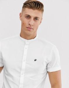 Белая оксфордская рубашка с короткими рукавами и воротником на пуговицах River Island-Белый
