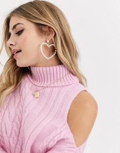 Джемпер в косичку с открытыми плечами ASOS DESIGN-Розовый