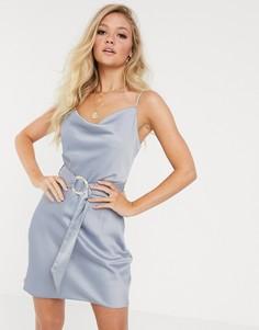 Синее платье-комбинация с ремнем River Island-Синий