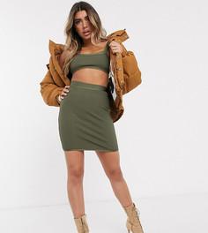 Комбинируемая юбка-карандаш в рубчик с завышенной талией и бандажным дизайном Sixth June-Зеленый