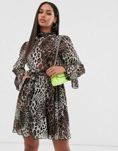 Свободное платье с леопардовым принтом и поясом Missguided-Мульти