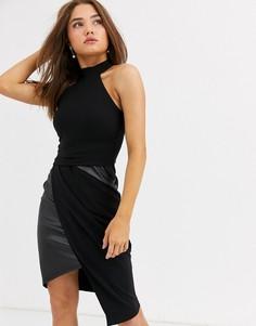 Черное асимметричное платье-футляр со вставками из полиуретана Lipsy-Черный