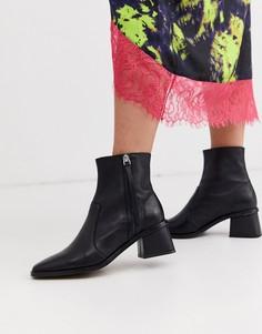 Черные кожаные ботинки на каблуке Topshop-Черный