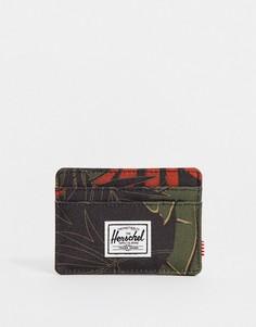 Кредитница с тропическим пальмовым принтом и RFID-защитой Herschel Supply Co Charlie-Мульти