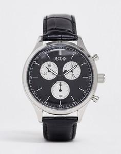 Часы с черным кожаным ремешком Boss mens companion-Черный