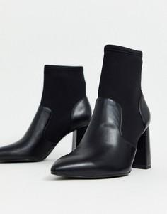 Черные ботинки на каблуке Stradivarius-Черный