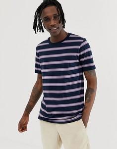 Сиренево-синяя футболка в полоску Globe Shift-Темно-синий