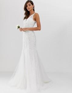 Свадебное сетчатое платье с вышивкой, кружевом и юбкой годе ASOS EDITION-Белый