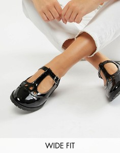 Туфли на плоской подошве для широкой стопы ASOS DESIGN Marky-Черный