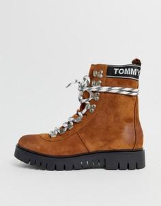 Кожаные походные ботинки на шнуровке Tommy Hilfiger-Коричневый