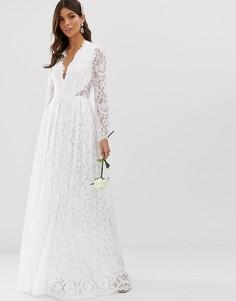 Кружевное свадебное платье с V-образным вырезом ASOS EDITION-Белый