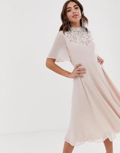 Платье миди с рукавами-кейп и отделкой искусственным жемчугом ASOS DESIGN-Розовый