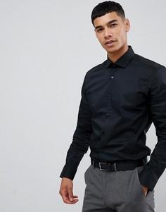 Черная приталенная рубашка с длинными рукавами Moss London-Черный