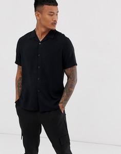 Черная рубашка с отложным воротником Topman-Черный