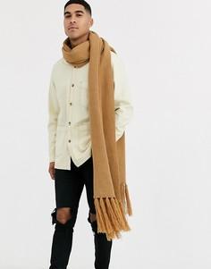 Oversize-шарф с кисточками Jack & Jones-Бежевый