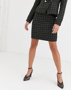 Черная твидовая юбка Missguided-Черный