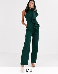 Зеленый комбинезон с высоким воротником и оборкой Chi Chi London Tall