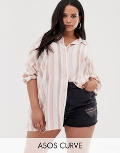 Рубашка бойфренда с длинными рукавами в полоску ASOS DESIGN Curve-Мульти