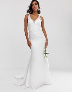 Свадебное платье с отделкой на кружевном лифе и креповой юбкой ASOS EDITION-Белый