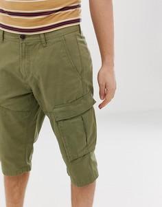 Длинные шорты карго из органического хлопка цвета хаки Esprit-Зеленый