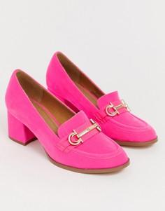 Розовые лоферы на каблуке средней высоты ASOS DESIGN - Stirrup-Розовый