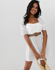 Пляжное платье с ремнем естественного цвета ASOS DESIGN milkmaid-Белый