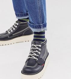 Темно-синие кожаные ботинки на платформе Kickers-Синий