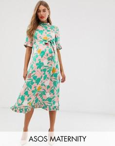Жаккардовое платье-футляр миди с цветочным принтом и поясом ASOS DESIGN Maternity-Мульти