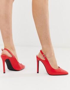 Красные остроносые туфли-лодочки с ремешком через пятку Lost Ink-Красный