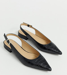 Эксклюзивные черные туфли на плоской подошве с эффектом крокодиловой кожи и ремешком через пятку RAID-Черный