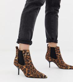 Ботинки челси на каблуке с леопардовым принтом Bershka-Мульти