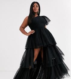 Черное платье макси на одно плечо из тюля с разрезом Lace & Beads Plus-Черный