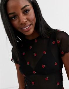 Черная сетчатая футболка с цветочным принтом New Look-Черный
