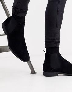 Черные ботинки челси из искусственной замши New Look-Черный