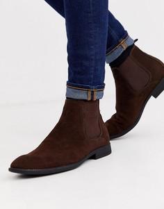 Коричневые ботинки челси из искусственной замши New Look-Коричневый