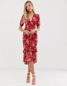 Платье миди с короткими рукавами и цветочным принтом Hope & Ivy-Красный