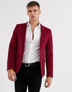 Бордовый облегающий бархатный пиджак Avail London-Красный