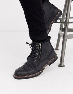 Черные ботинки с двумя молниями River Island-Черный