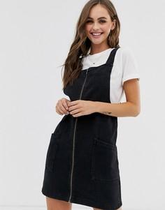 Черный джинсовый сарафан на молнии Pimkie