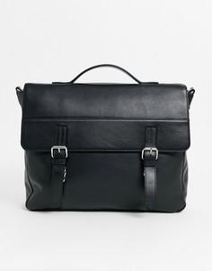 Черная кожаная сумка сэтчел с двумя ремешками ASOS DESIGN-Черный
