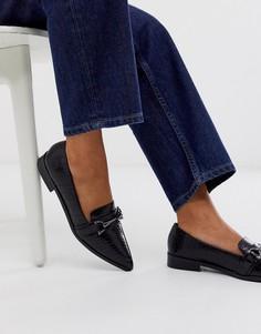 Черные туфли на плоской подошве с пряжками и острым носом ASOS DESIGN Master-Черный